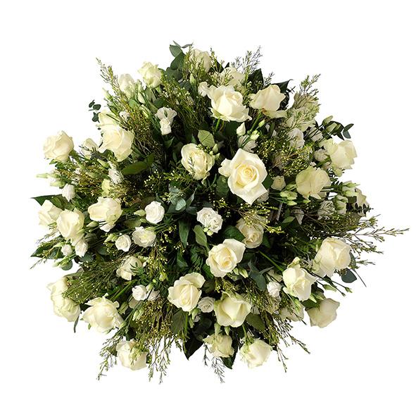 Grafstuk wit rozen lisianthus