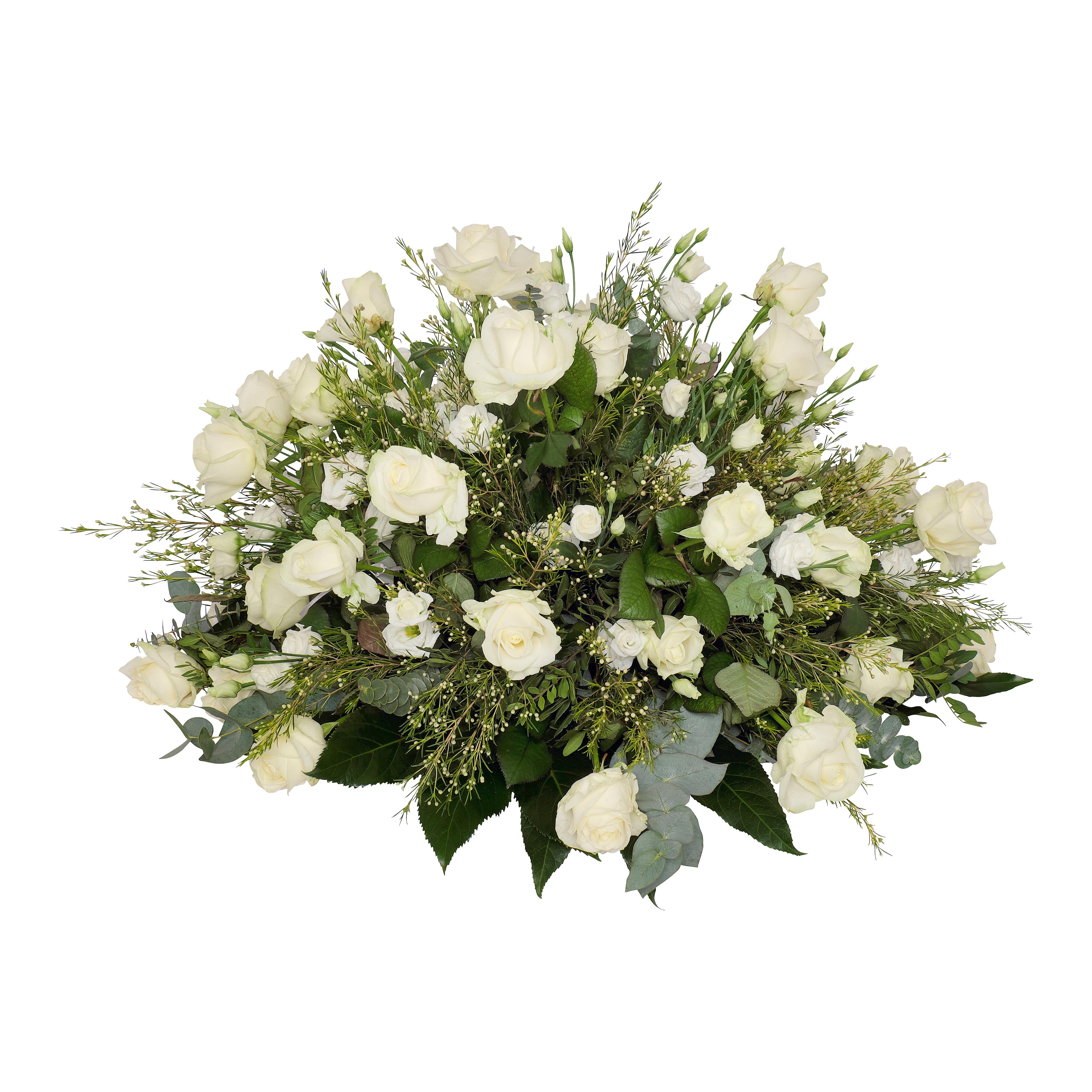 rouwstuk bloemwerk wit